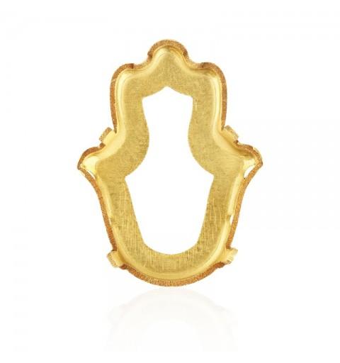 18x13.7mm 4778/S 1PH203 Gold Plating Fatima käsi Ehete Kivipesa (4 AUKUDEGA/2MÕLEMADE POOLT - AVATUD)