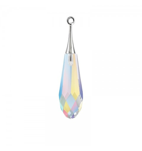 21MM Crystal AB RHOD (001 AB) Pure Drop Pendant with trumpet cap 6532 SWAROVSKI ELEMENTS