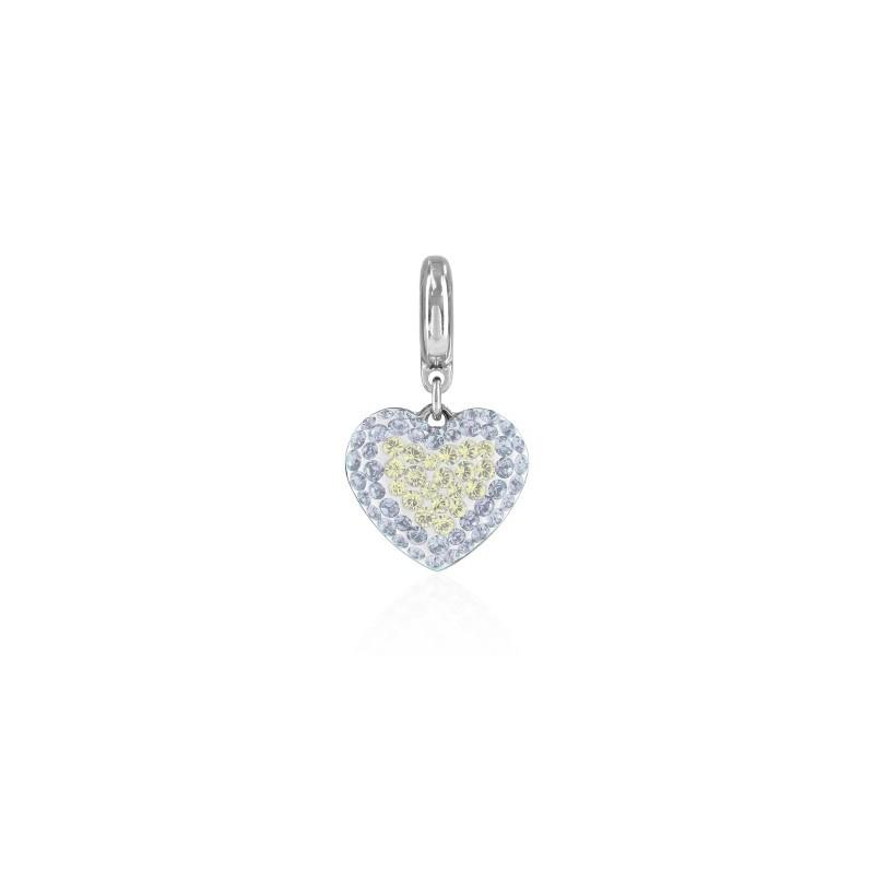 14mm BeCharmed Pavé Heart Charm 86502 Crystal Moonlight Swarovski Elements