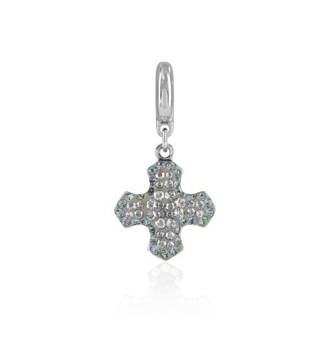 14mm BeCharmed Pavé Greek Cross Charm 86522 Crystal Moonlight (001 MOL) Swarovski Elements