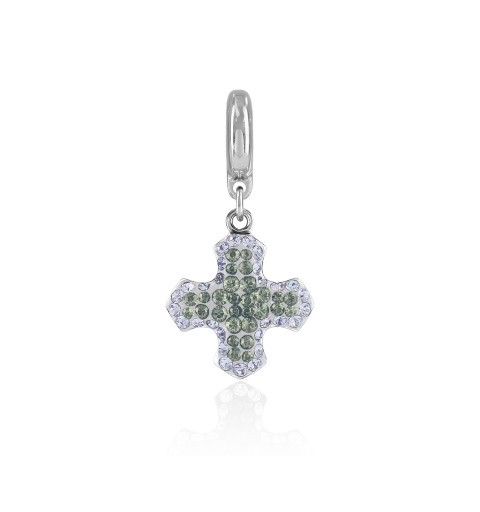 14mm BeCharmed Pavé Greek Cross Charm 86522 Black Diamond (215) Swarovski Elements