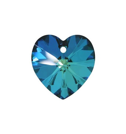 14.4x14MM Crystal Bermuda Blue (001 BB) XILION Heart Pendants 6228 SWAROVSKI ELEMENTS