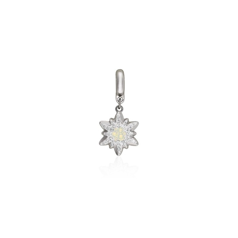 14mm BeCharmed Pavé Edelweiss Charm 86532 White Opal (234) Swarovski Elements