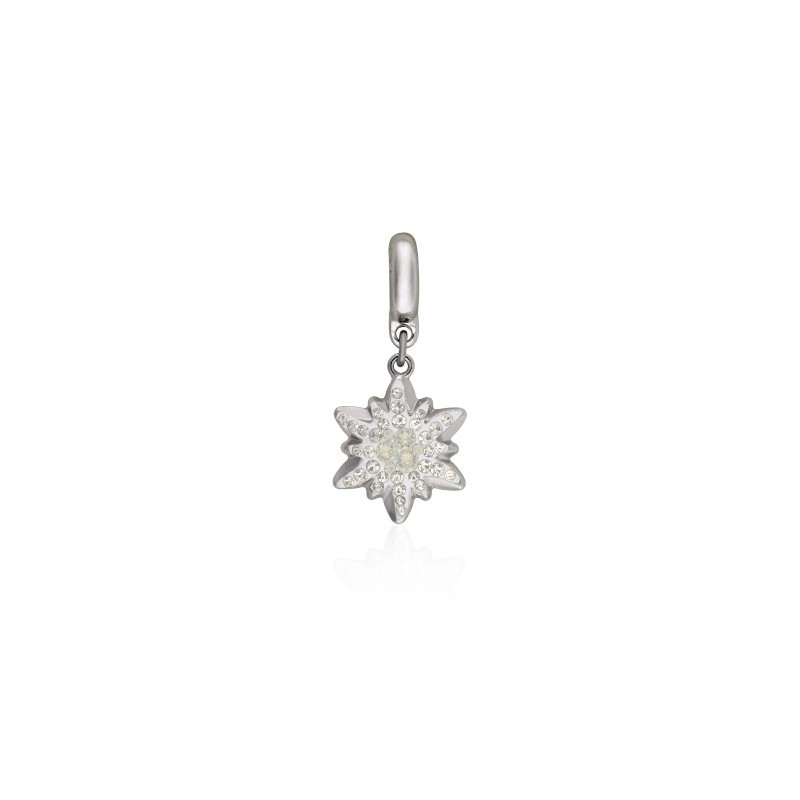 14mm BeCharmed Pavé Edelweiss Charm 86532 Light Grey Opal (383) Swarovski Elements