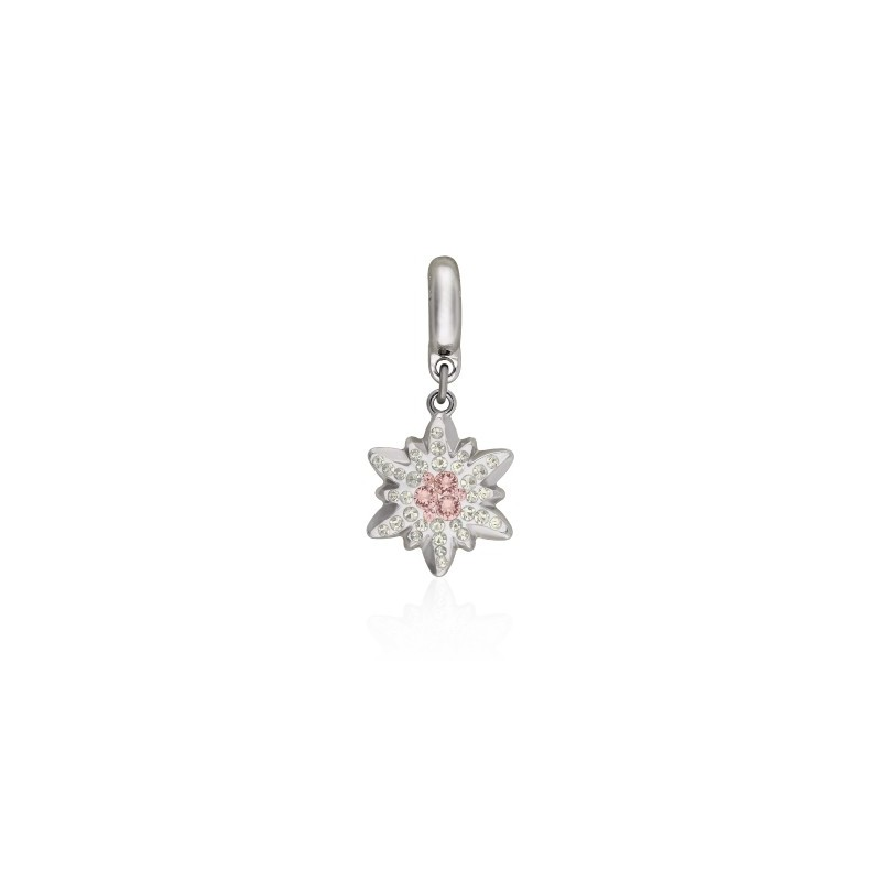 14mm BeCharmed Pavé Edelweiss Charm 86532 Vintage Rose (319) Swarovski Elements