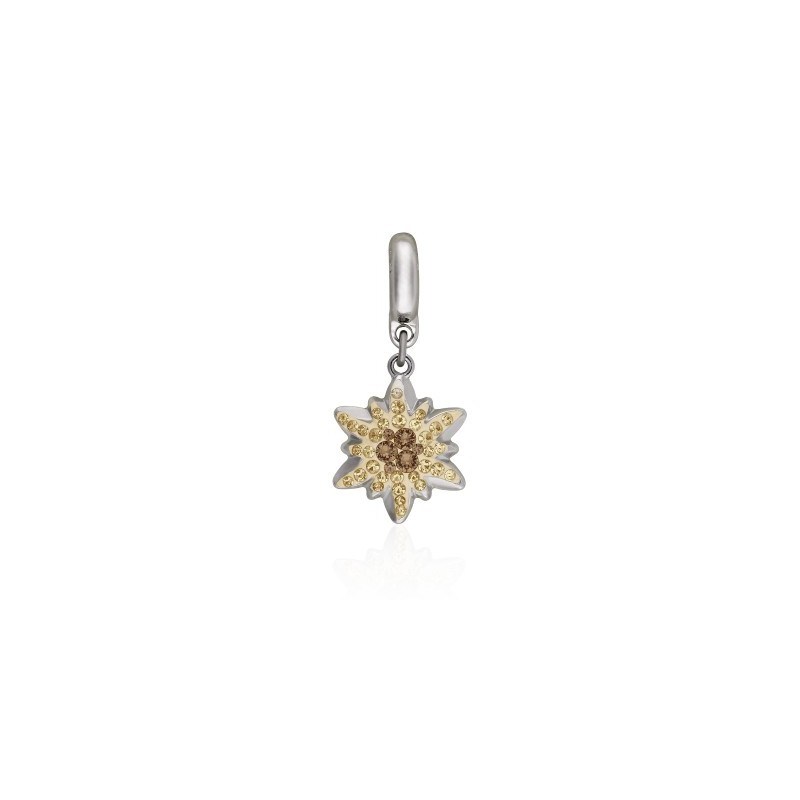 14mm BeCharmed Pavé Edelweiss Charm 86532 Smoked Topaz (221) Swarovski Elements