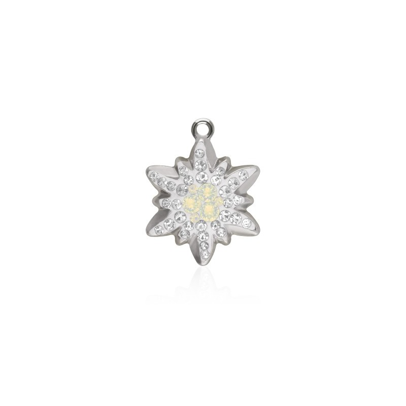 14MM White Opal (234) Pavé Edelweiss Pendant 67442 SWAROVSKI ELEMENTS