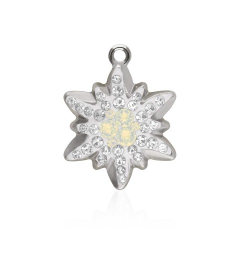 26MM White Opal (234) Pavé Edelweiss Pendant 67442 SWAROVSKI ELEMENTS