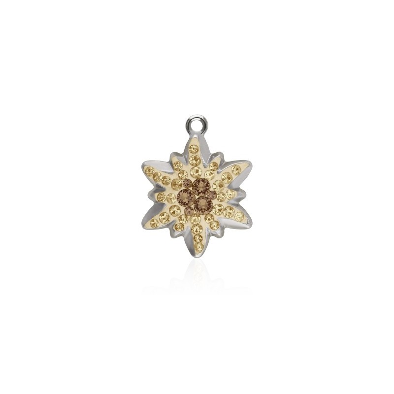 14MM Light Smoked Topaz (221) Pavé Edelweiss Pendant 67442 SWAROVSKI ELEMENTS