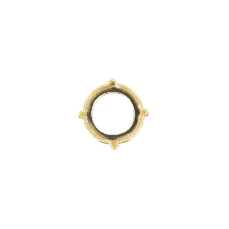 12mm Оправа для Сваровски Риволи 1122 цвет Золота (4 отвестия, 4 зажима)