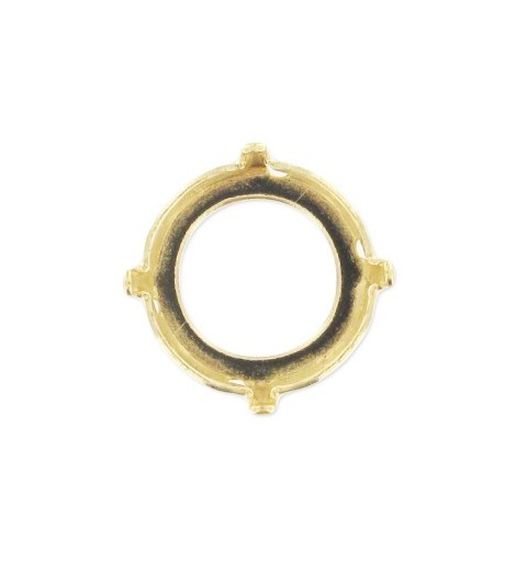 12mm Setting for Swarovski Rivoli 1122 Gold colored (4 holes, 4 prongs)