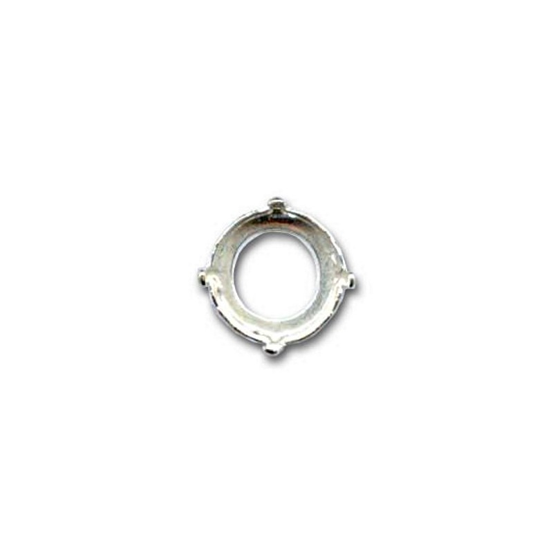 14mm Setting for Swarovski Rivoli 1122 silver colored (4 holes, 4 prongs)