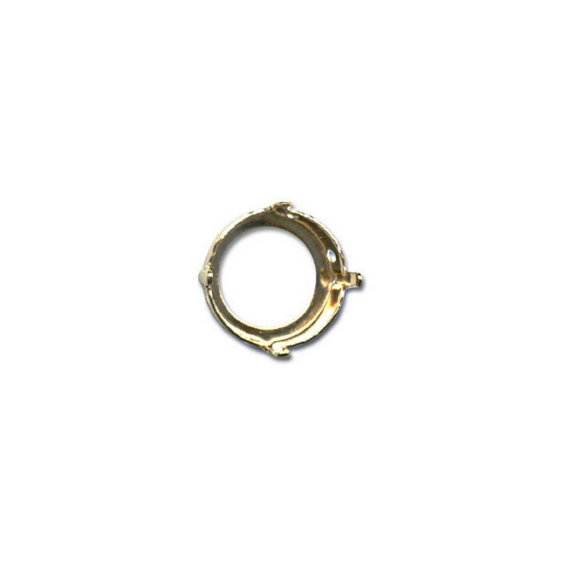 14mm Оправа для Сваровски Риволи 1122 цвет Золота (4 отвестия, 4 зажима)