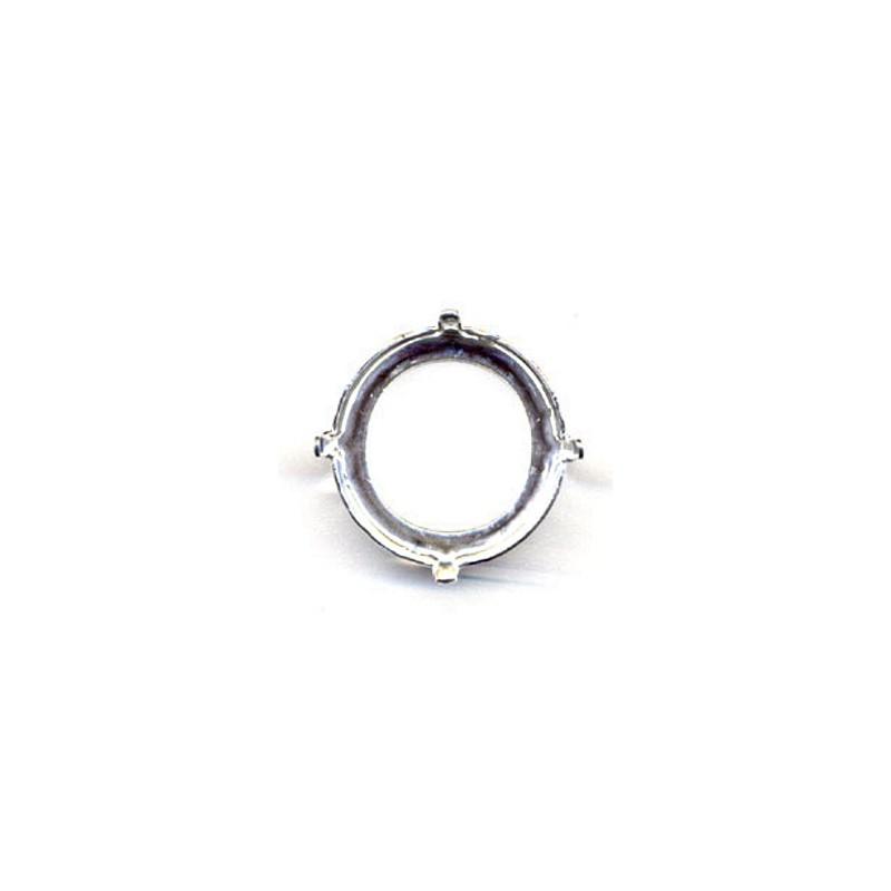 18mm Оправа для Сваровски Риволи 1122 цвет Серебра (4 отвестия, 4 зажима)