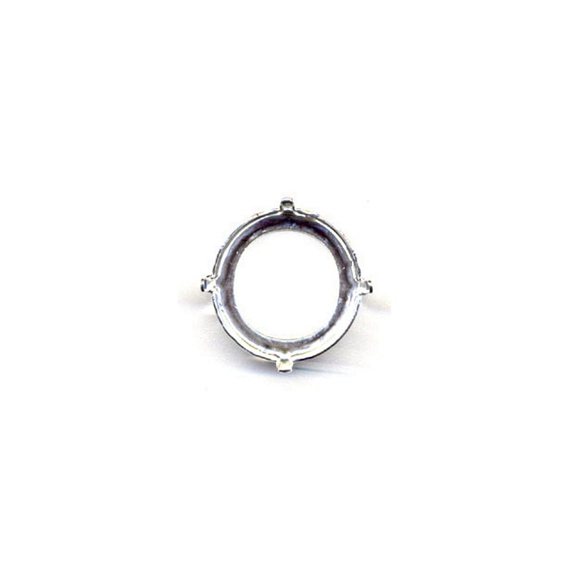18mm Setting for Swarovski Rivoli 1122 silver colored (4 holes, 4 prongs)