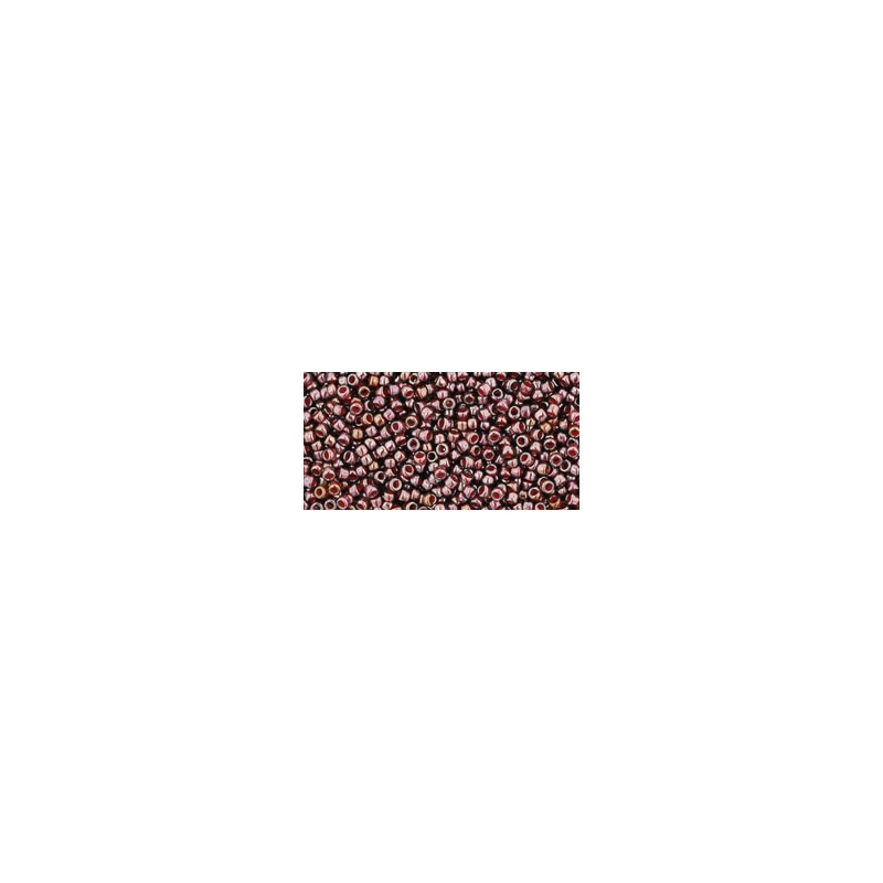 TR-15-363 Inside-Color Montana Blue/Oxblood Lined TOHO Seed Beads