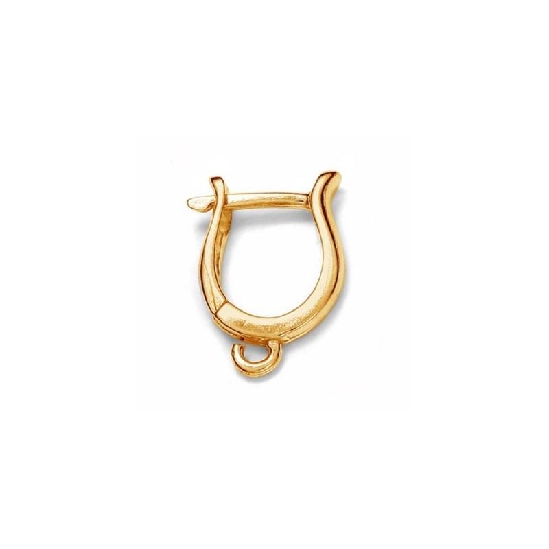 Серебрянная 925 (Стерлинг) основа для серёжки Позолоченая с кольцом и замком