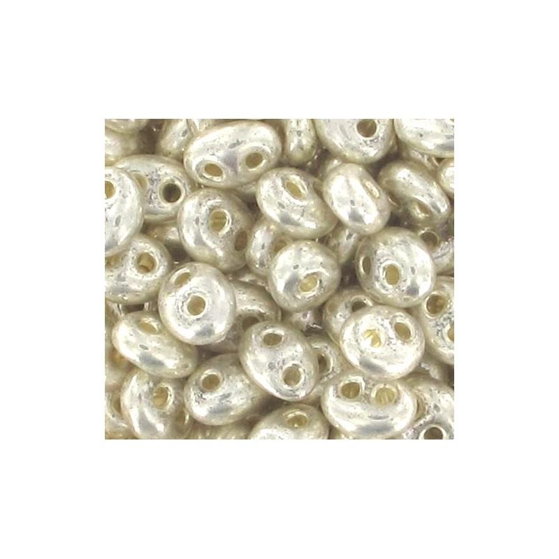 Twin-2RH-18503 Crystal-Terra Silver Metallic ORNELA Seed Beads