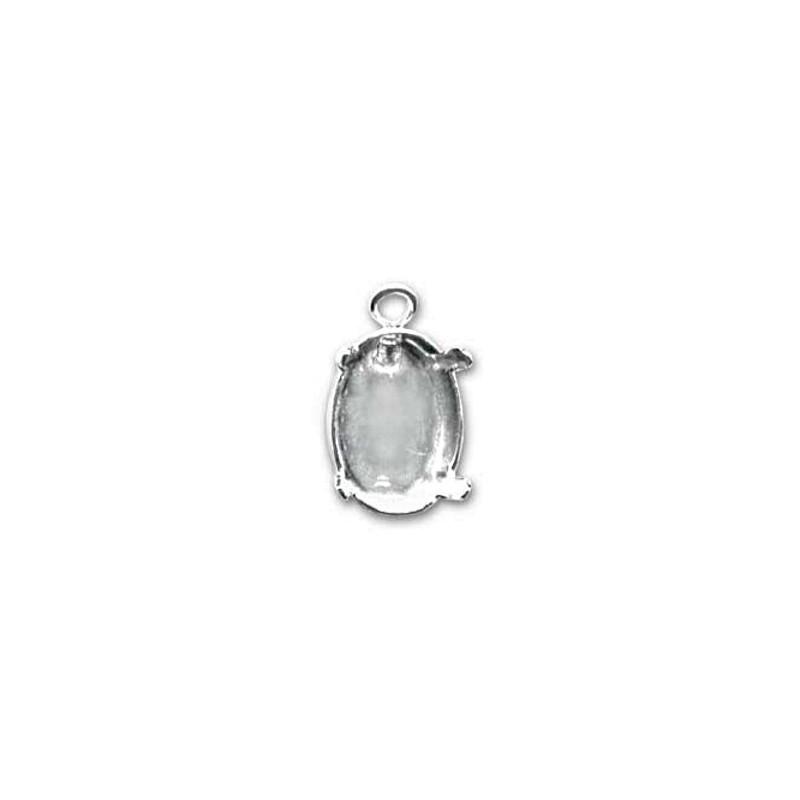 14x10mm Оправа для Сваровски Овал 4120 цвет Серебра с кольцом