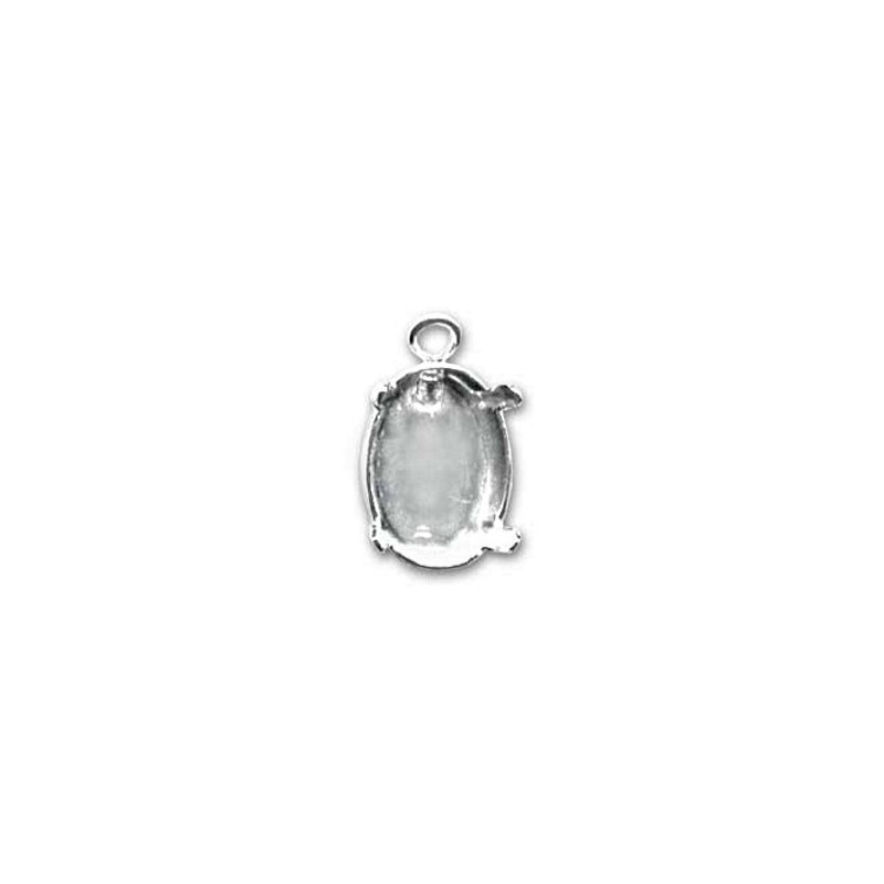 14x10mm Setting for Swarovski Oval 4120 Silver colored with eye