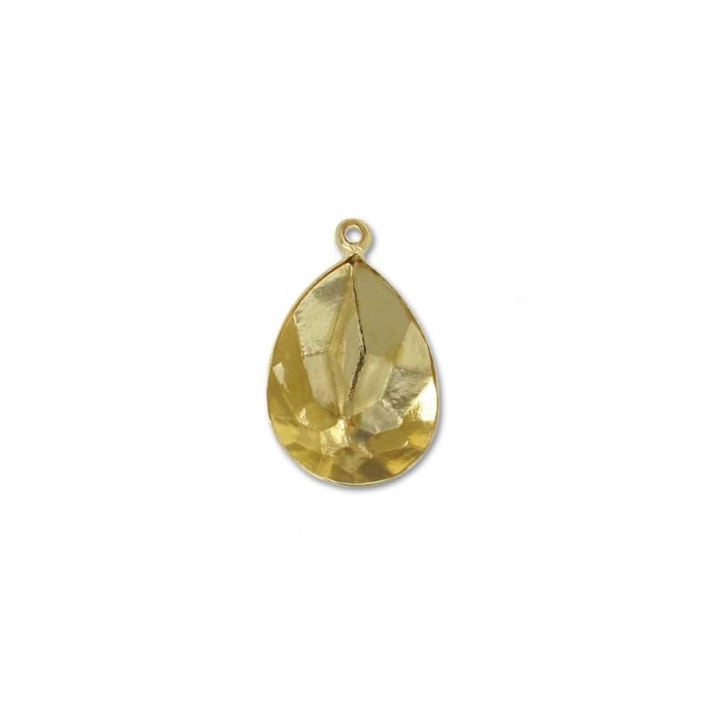 14x10mm Оправа для Сваровски Грушевидный 4320 цвет Золота с кольцом