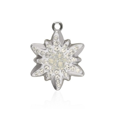 26MM Light Grey Opal (383) Pavé Edelweiss Pendant 67442 SWAROVSKI ELEMENTS
