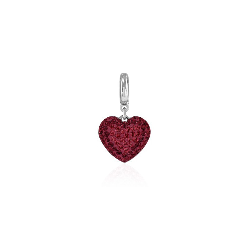 14mm BeCharmed Pavé Heart Charm 86502 Light Siam Swarovski Elements
