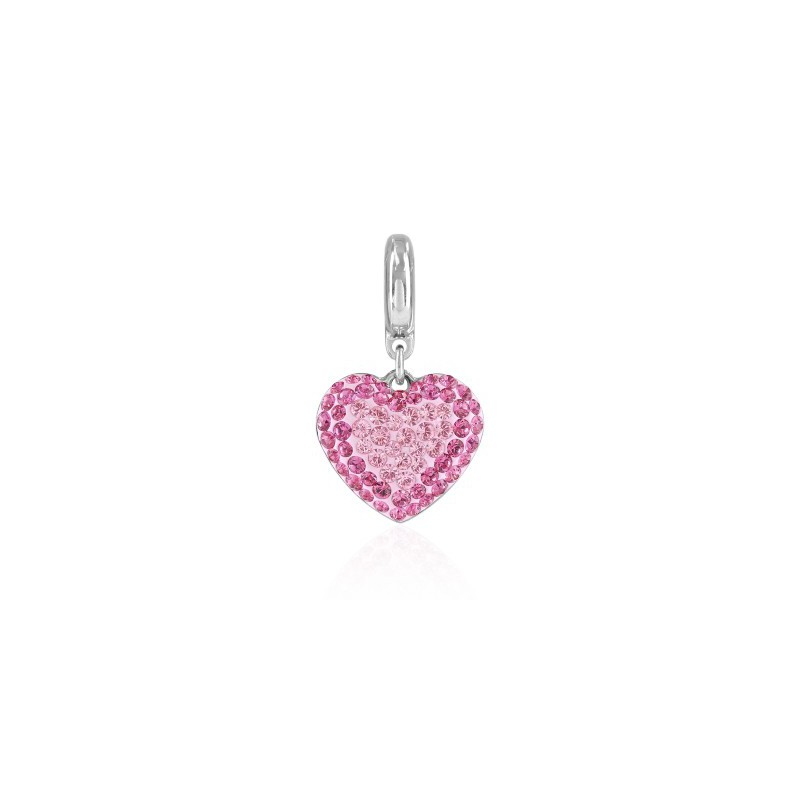 14mm BeCharmed Pavé Heart Charm 86502 Light Rose Swarovski Elements