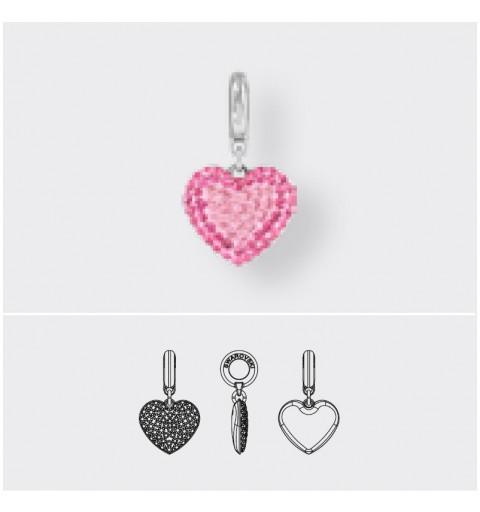 14mm BeCharmed Pavé Heart Charm 86502 Light Rose Swarovski Elements