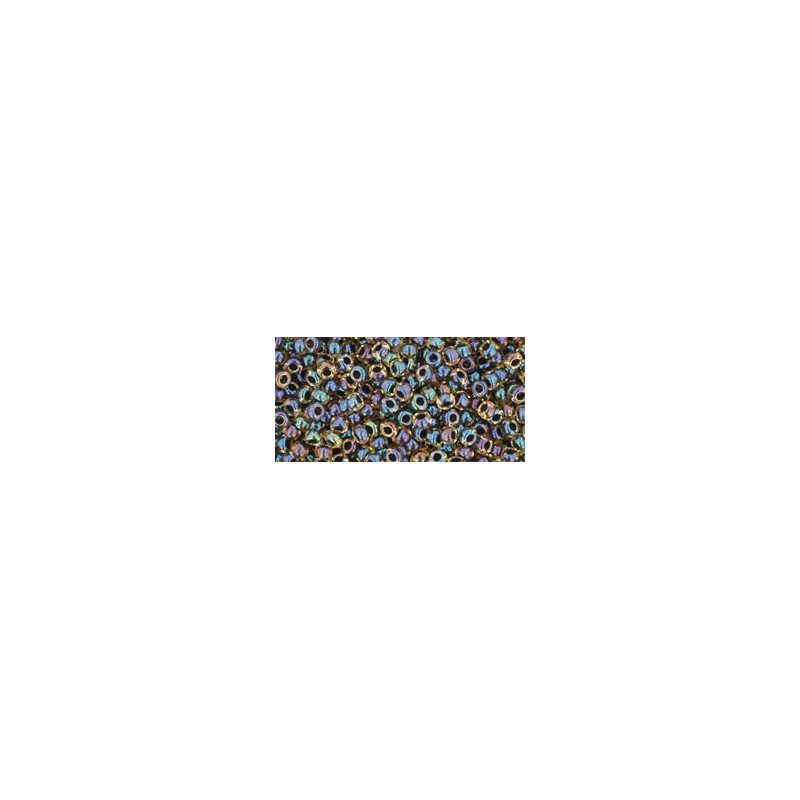 TR-11-245 Inside-Color Rainbow Jonquil/Jet Lined TOHO Seed Beads