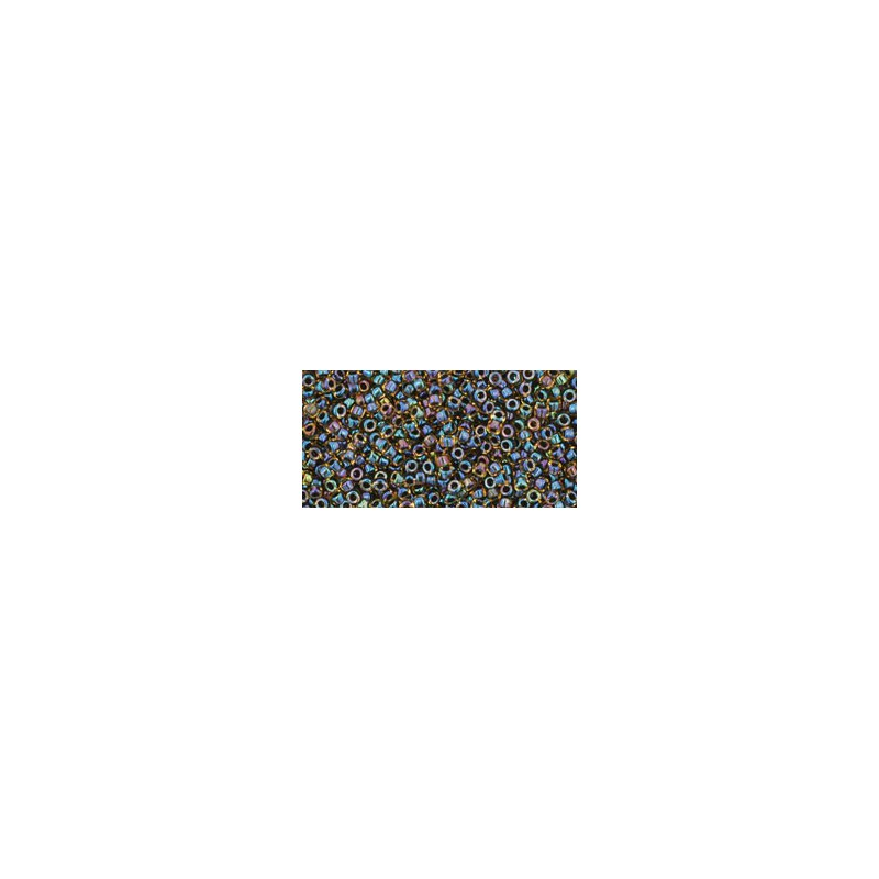 TR-15-245 Inside-Color Rainbow Jonquil/Jet Lined TOHO Seed Beads