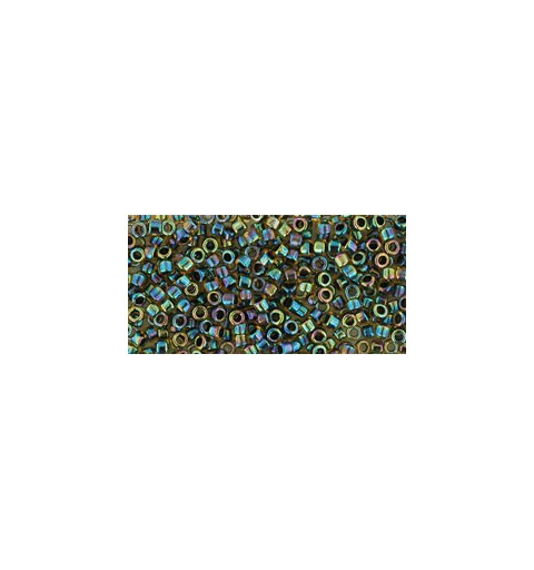 TT-01-245 Inside-Color Rainbow Jonquil/Jet Lined TOHO Treasures Seed Beads