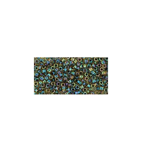 TT-01-245 Inside-Color Rainbow Jonquil/Jet Lined TOHO Treasures Seemnehelmed