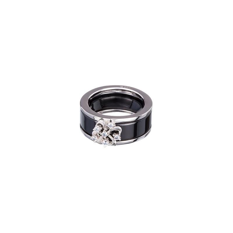 PRECIOSA Silver Ring Ag925/Rh515120 Jet Novel STYLE