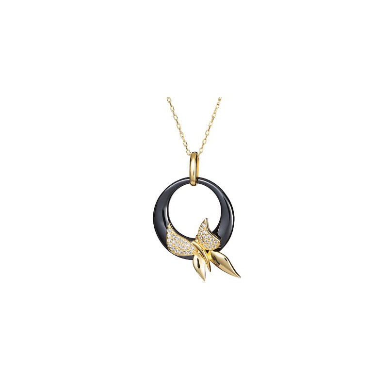 PRECIOSA Silver Gold Plated Pendant with chain Ag925/Au5153Y20 Black Fancy STYLE
