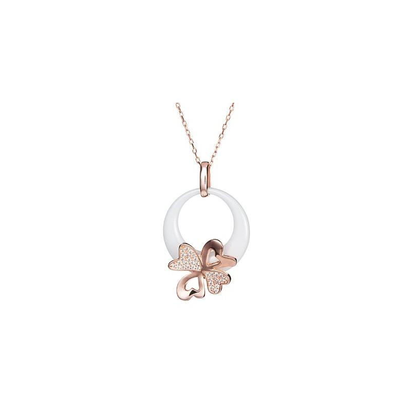 PRECIOSA Серебряная Позолоченная Подвеска с цепочкой Ag925/Au5145P00L Белый Vogue STYLE