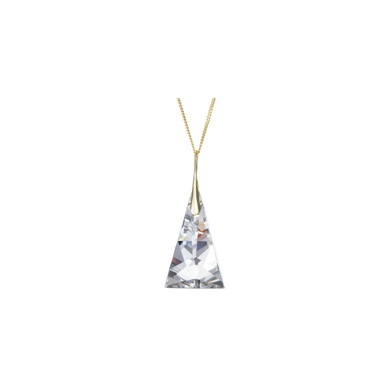 PRECIOSA Серебряная Позолоченная Подвеска с цепочкой Ag925/Au6842Y00 Crystal Pyramid STYLE