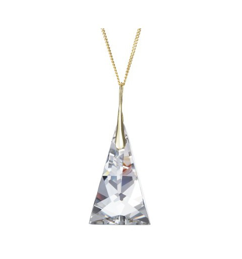 PRECIOSA Silver Gold Plated Pendant with chain Ag925/Au6842Y00 Crystal Pyramid STYLE