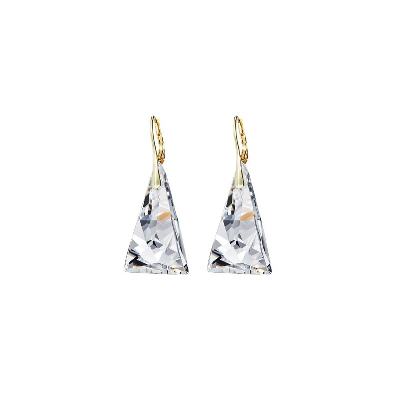 PRECIOSA Silver Gold Plated Earrings Ag925/Au6843Y00 Crystal Pyramid STYLE