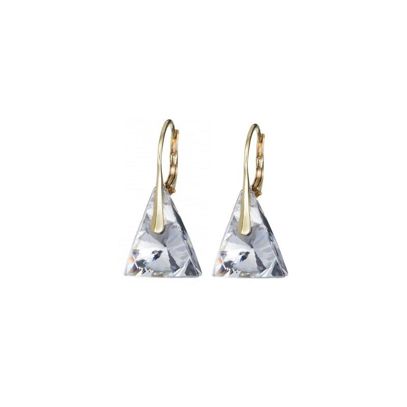 PRECIOSA Серебряные Позолоченные Сережки Ag925/Au6844Y00 Crystal Pyramid STYLE