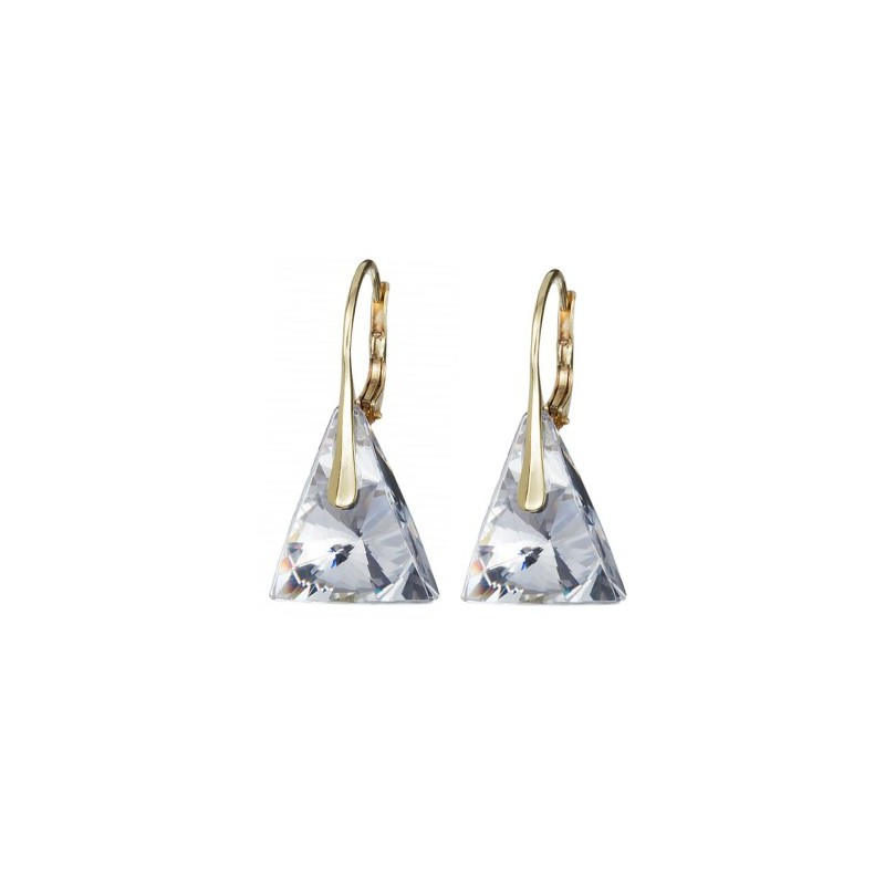 PRECIOSA Silver Gold Plated Earrings Ag925/Au6844Y00 Crystal Pyramid STYLE