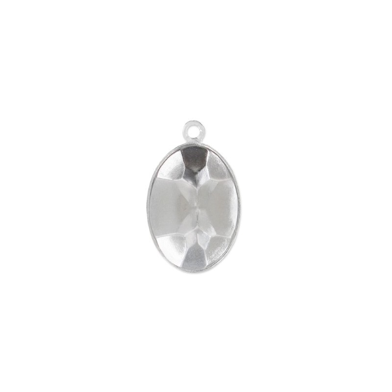 14x10mm Setting for Swarovski Oval 4120 Rhodium colored with eye
