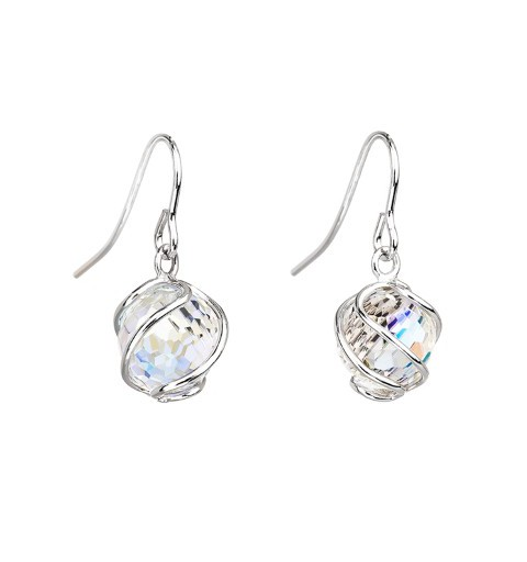 PRECIOSA Silver Earrings Ag925/Rh671642 Crystal AB Romantic BEADS STYLE