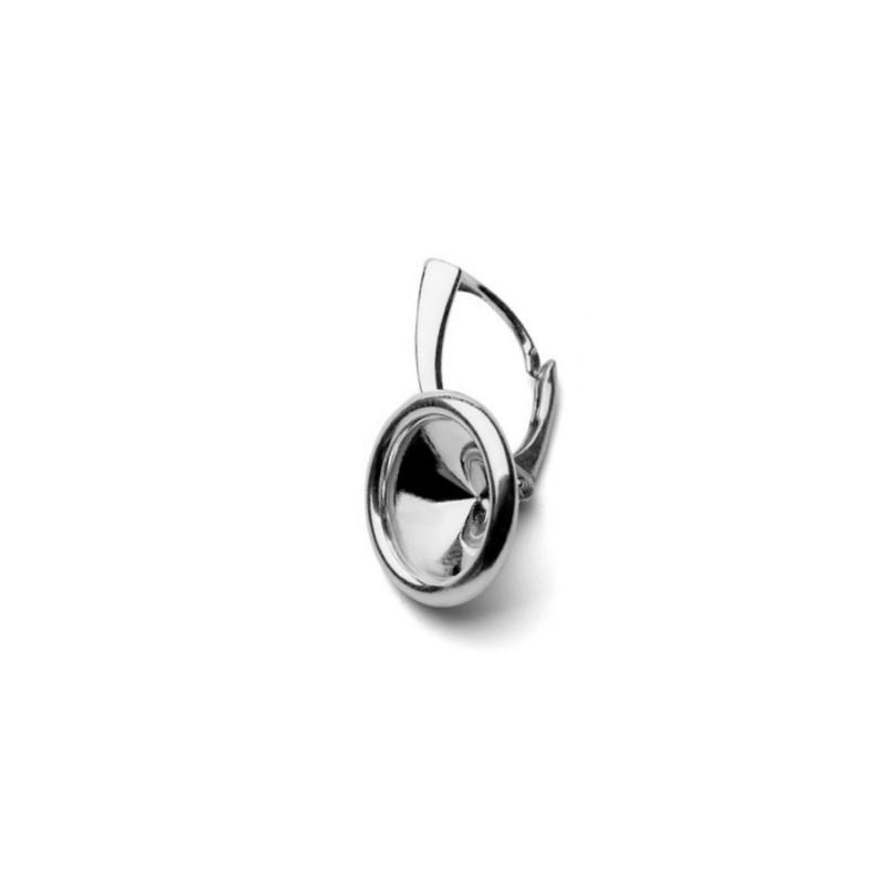 Для rivoli 1122 12mm прибл. 24X15mm Сваровски Серебрянная основа для серёжки с замком и рантиком