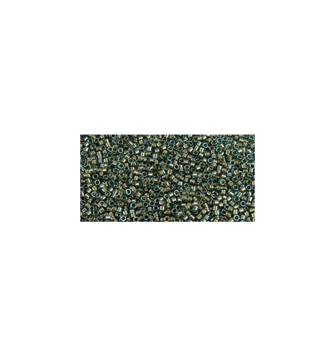 TT-11-284 Inside-Color Aqua/Gold Lined TOHO Treasures Seed Beads