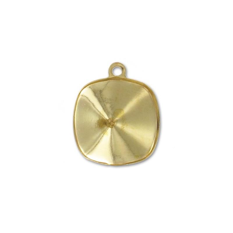 10mm Оправа для Сваровски квадратной формы 4470 цвет Серебра (4 отвестия, 4 зажима)