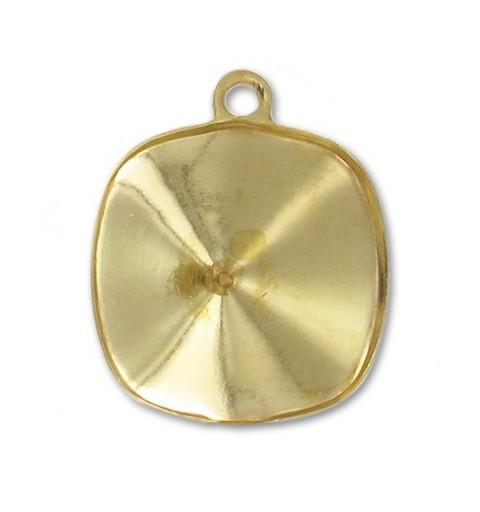 12mm Оправа для Сваровски квадрат 4470 цвет Золота с кольцом