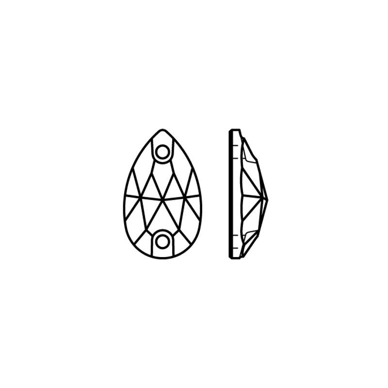 12x7MM Crystal AB S Sew-on Pearshape Preciosа