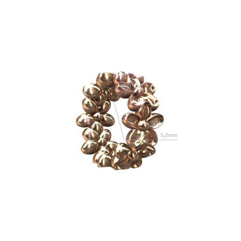 Серебряный 925 Стерлинг Рондель с цветами 7.4x3.3мм