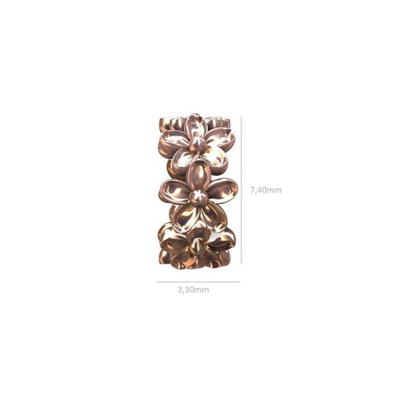 Sterling 925 Silver Rondell with flowers 7.4x3.3mm